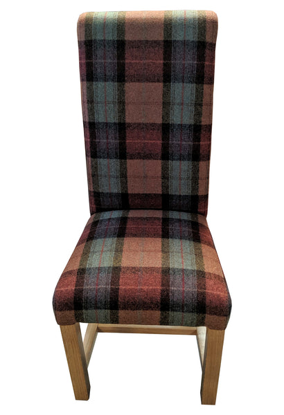 In Moon burnt orange fabric rollback oak chair