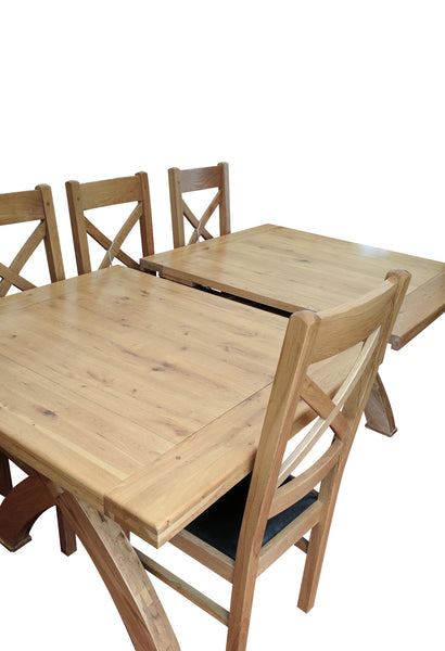 The Empire X Leg Solid Oak extending Dining Table - Blonde range