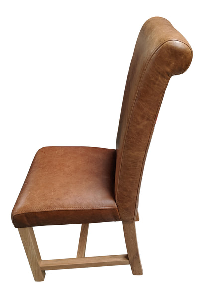 Cerato leather rollback oak chair