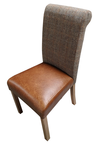 Bailey leather rollback and Harris Tweed oak chair