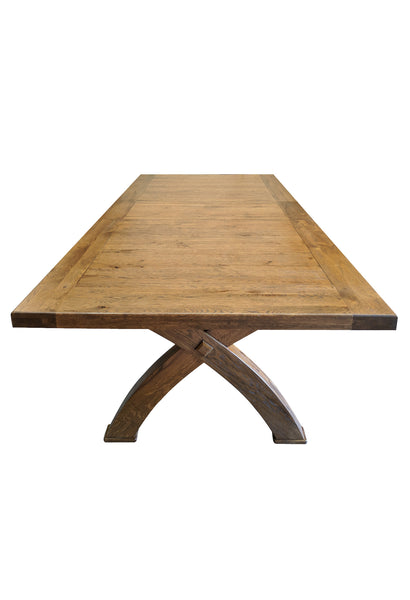The Empire X Leg Solid Oak extending Dining Table - Tudor oak range
