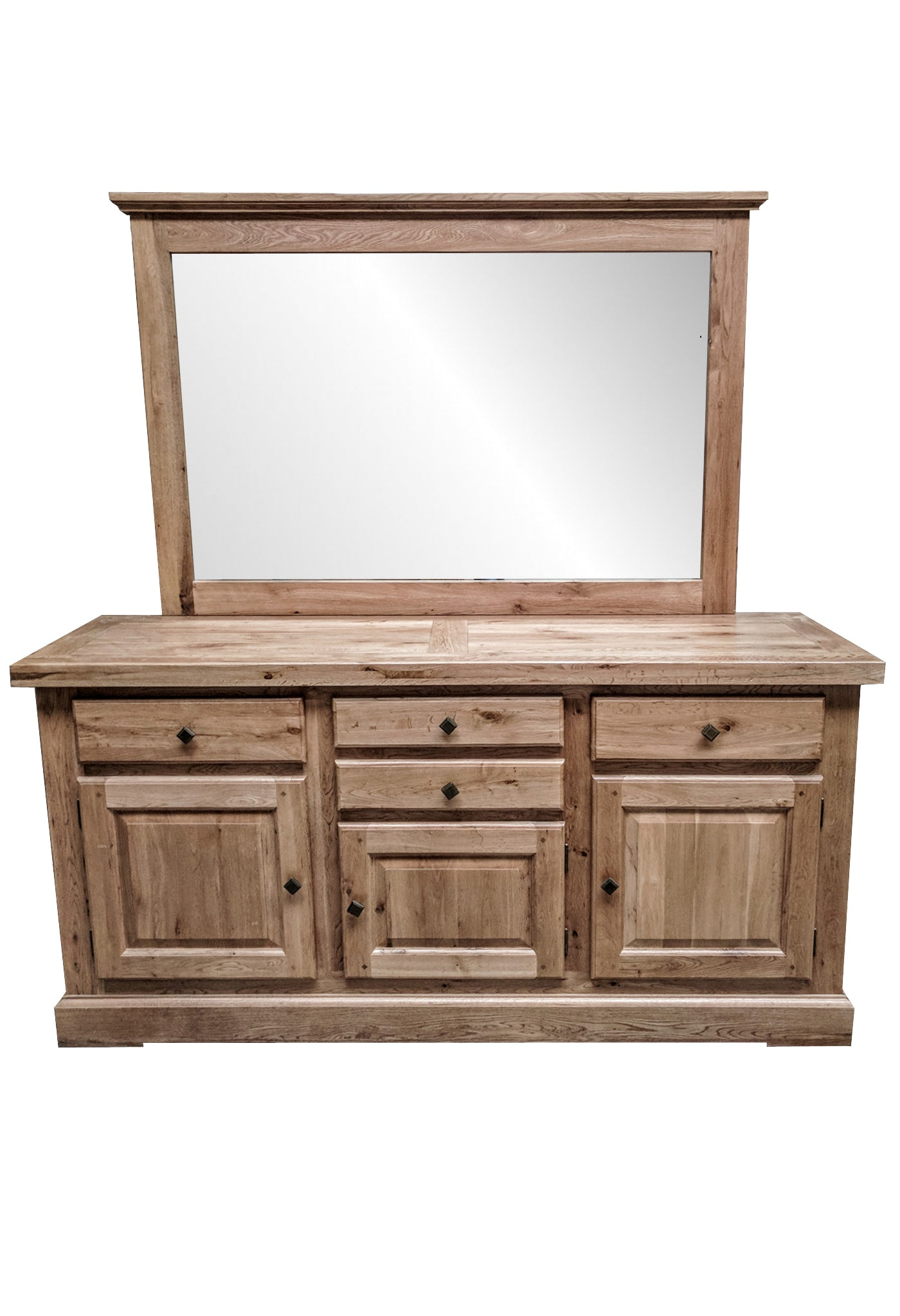 The four drawer oak sideboard with mirror blonde range