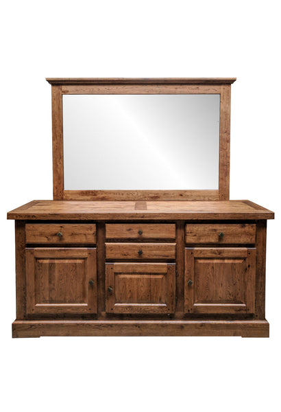 The Four Drawer Oak Sideboard with Mirror - Tudor oak range