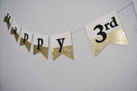 Black and Gold Dipped Birthday Banner
