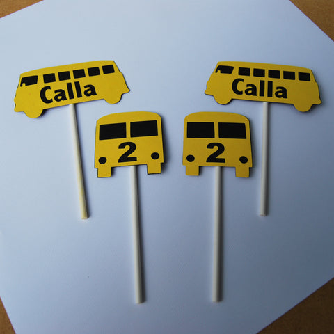 Wheels on the Bus Cupcake Toppers