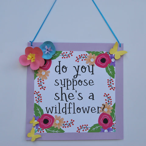 Butterfly and Wildflower Door Hanger