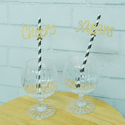 """Cheers to 30 Years"" Straw Toppers"