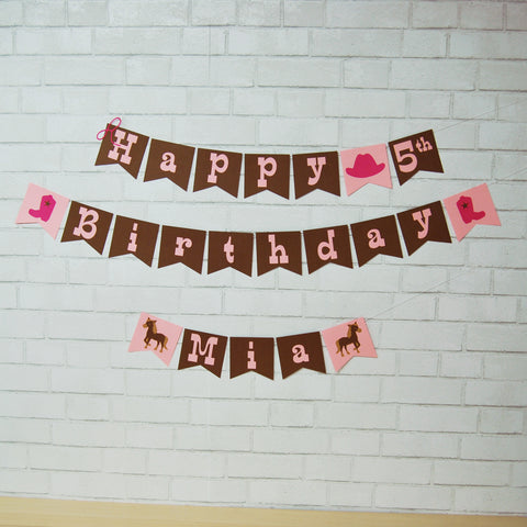 Cowgirl Birthday Banner