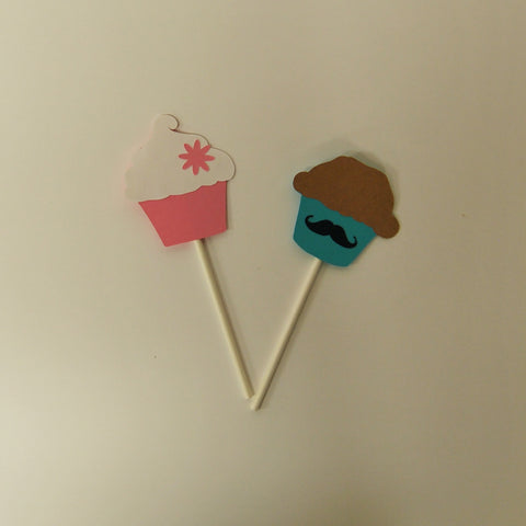 Cupcake or Stud Muffin Gender Reveal Cupcake Toppers