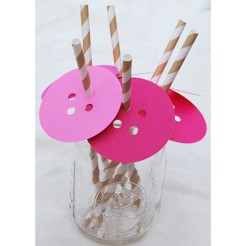Button Straw Toppers