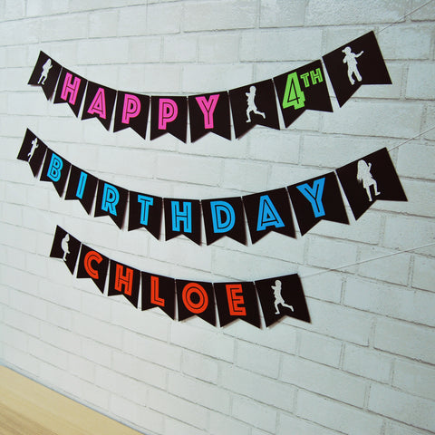 Neon Dance Party Birthday Banner