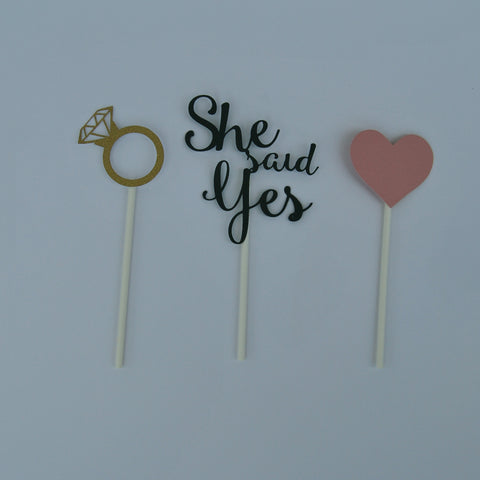 """She Said Yes"" Engagement Cupcake Toppers"