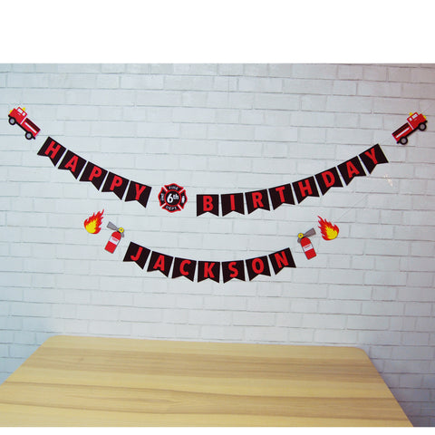 3D Firefighter Birthday Banner
