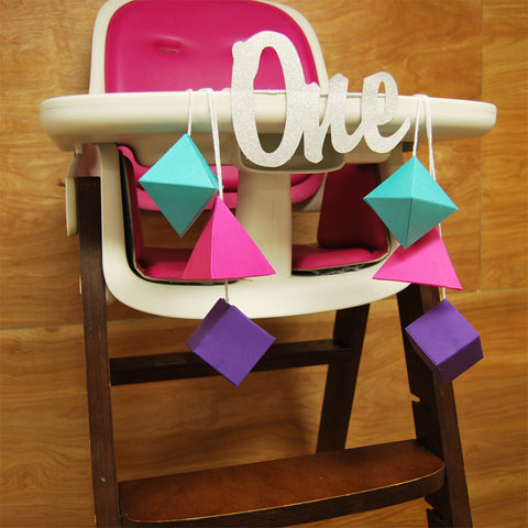 "Geometric ""ONE"" Highchair Banner on Pinterest"