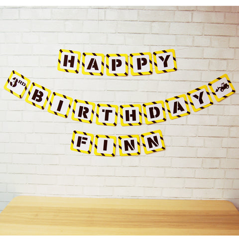 Happy Birthday Construction Banner