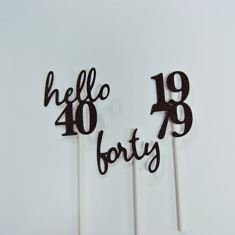 Hello 40 Cupcake Toppers
