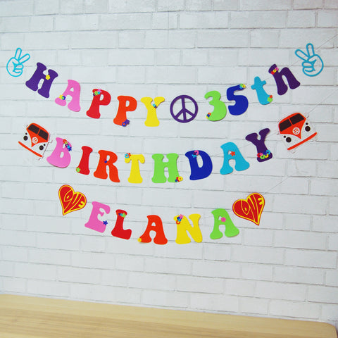 Hippie Birthday Banner