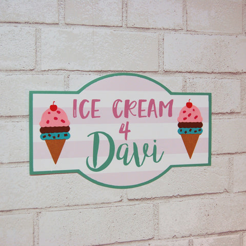 Ice Cream Party Name Sign