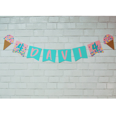 Ice Cream Sprinkles Name Banner