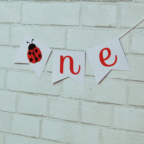 "Ladybug ""One"" High Chair Banner"