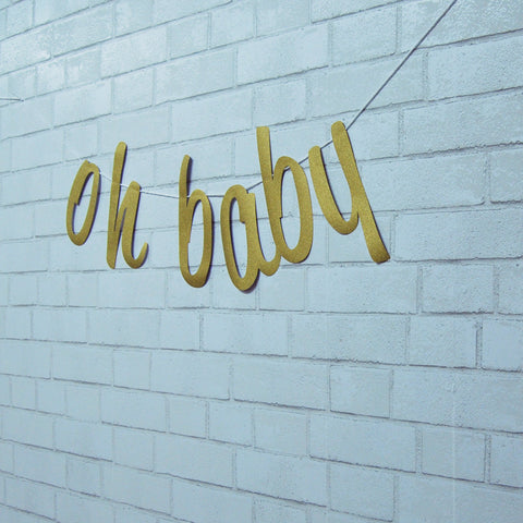 """Oh Baby"" Boho Baby Shower Banner"