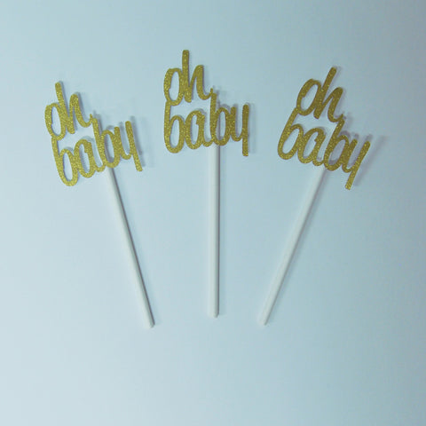 """Oh Baby"" Boho Style Cupcake Toppers"