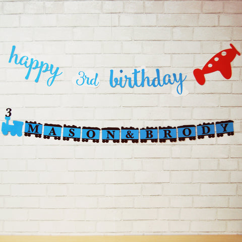 Planes and Trains Birthday Banner