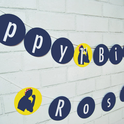 Rosie the Riveter Birthday Banner