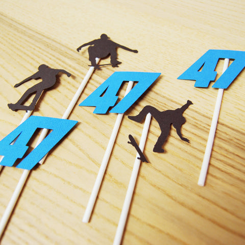 Skateboard Birthday Cupcake Toppers