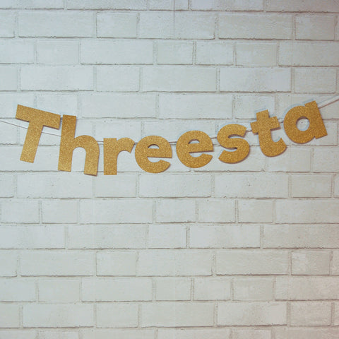 """Threesta"" Fiesta Third Birthday Banner"