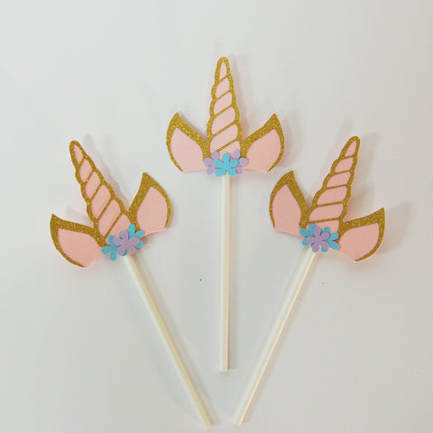 Floral Unicorn Horn Cupcake Toppers