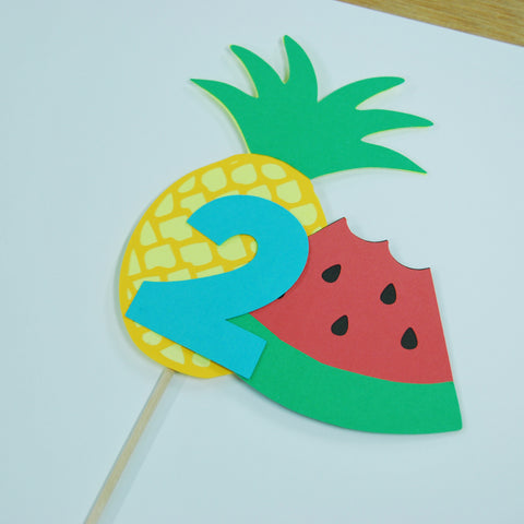 Two-tti Fruity Watermelon and Pineapple Cake Topper