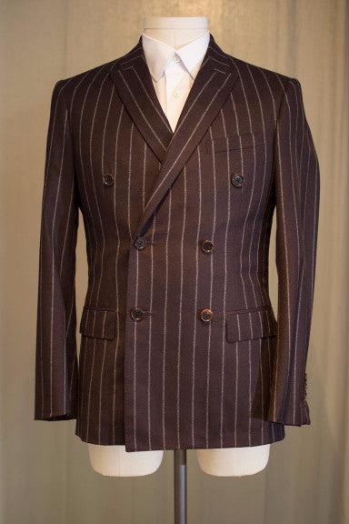 Burgundy Chalk Stripe Double Breasted Suit