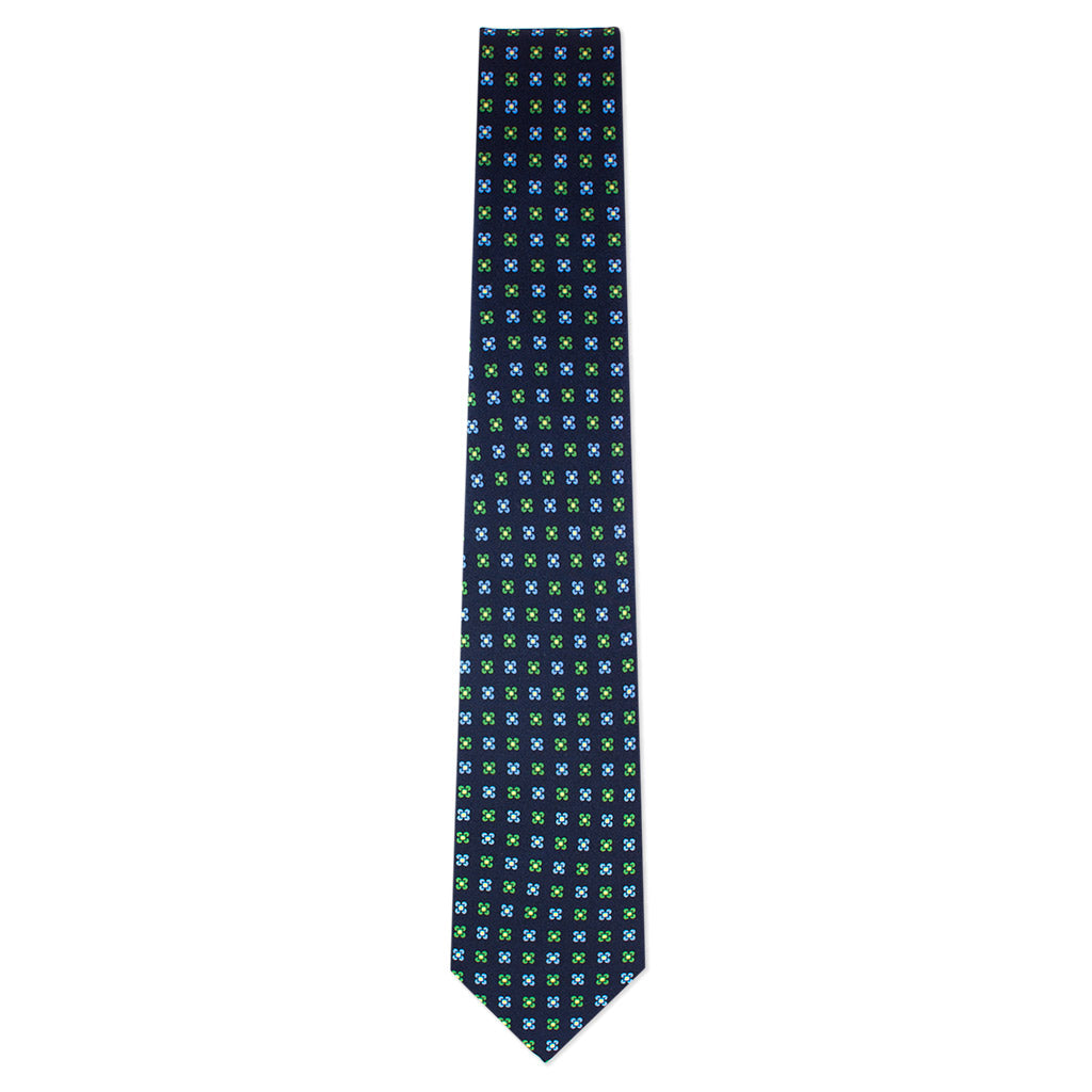 Navy with Emerald and Sky Blue Foulard Tie