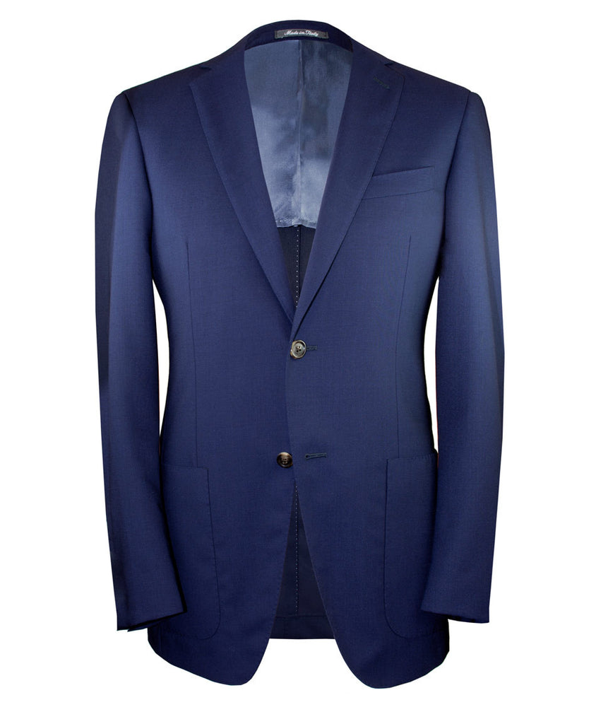 Two button navy mohair sport coat. Made in Italy and fully canvassed.
