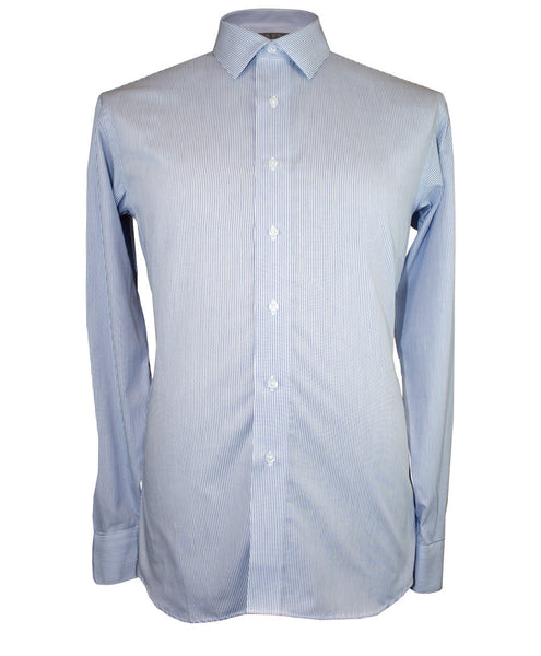 White w/ Navy Thin Stripe Shirt - Ezra Paul Clothing