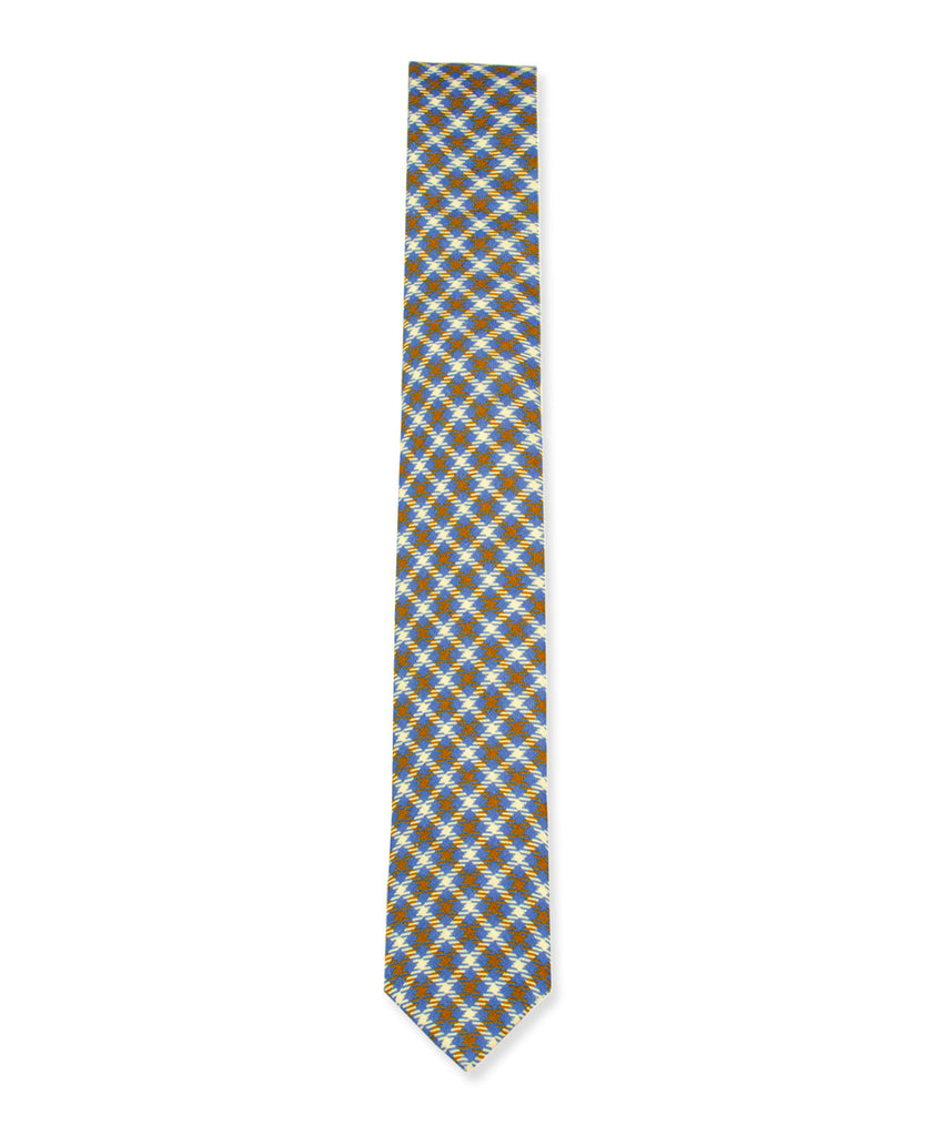 Blue-Brown-Cream Plaid Linen Tie