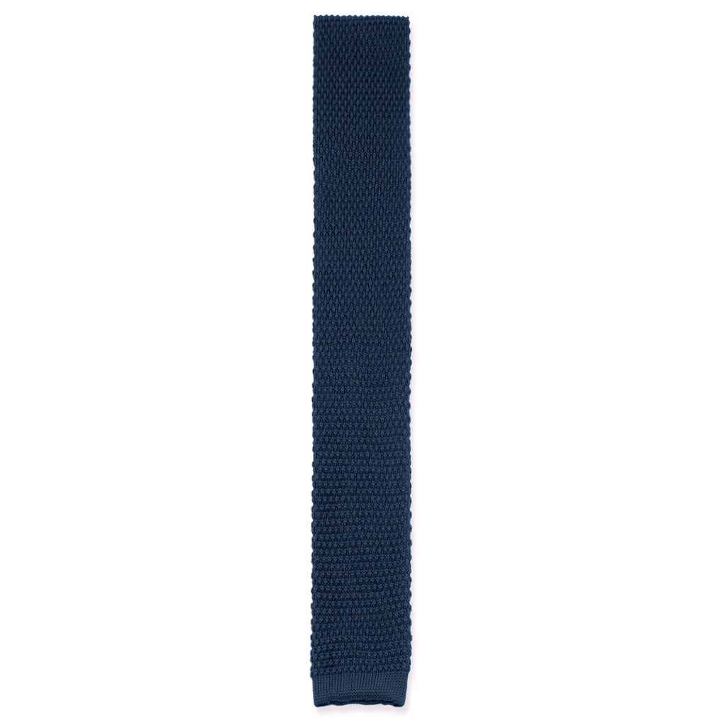 Dark royal blue navy knit tie made in Como, Italy