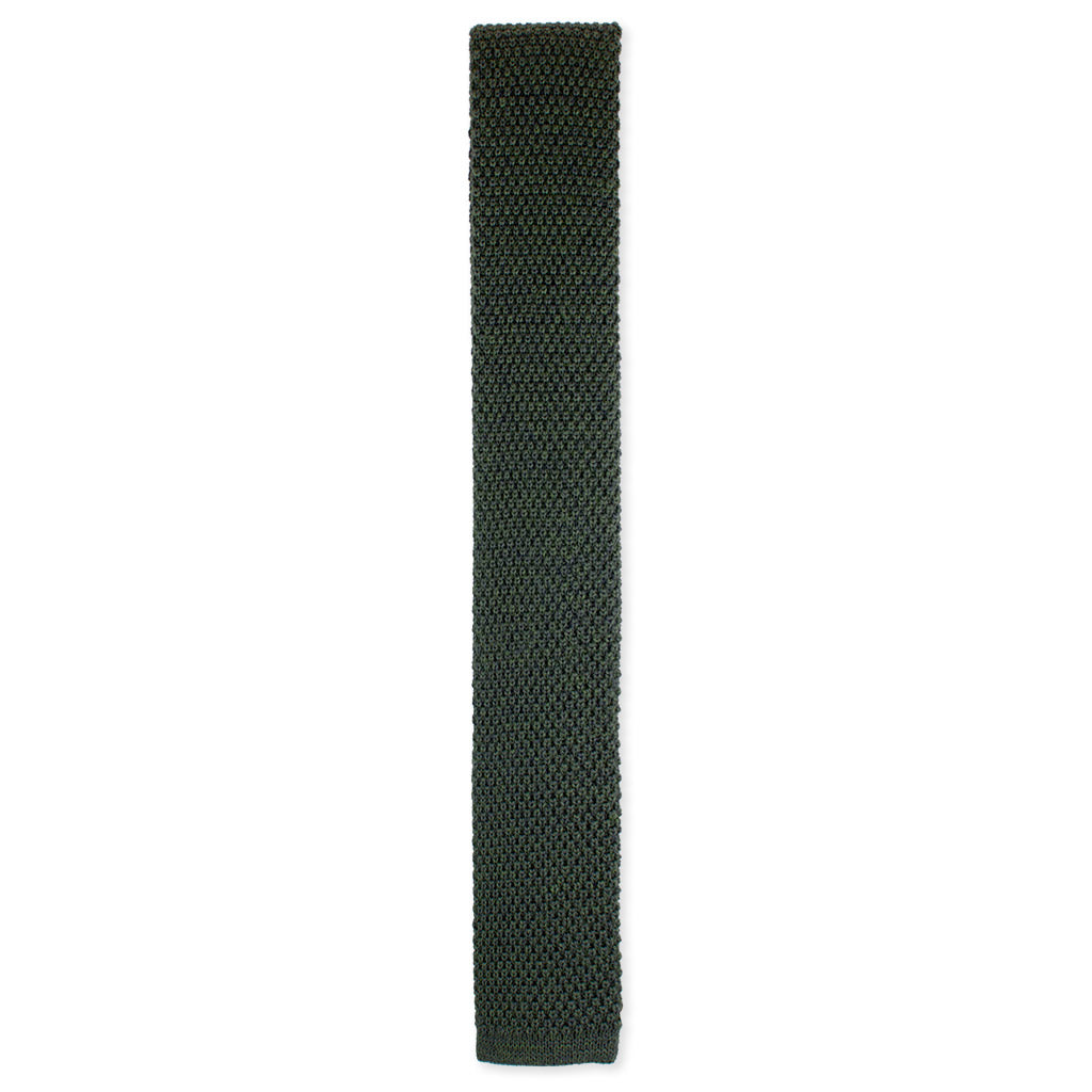 Brunswick green knit wool tie made in Como, Italy