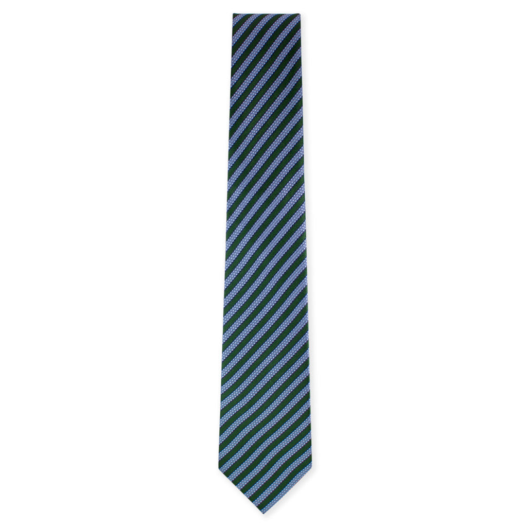 Green with blue stripe tie. Made in Como, Italy