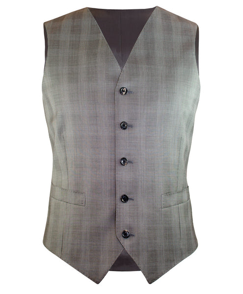 Taupe Glen Plaid Vest - Ezra Paul Clothing