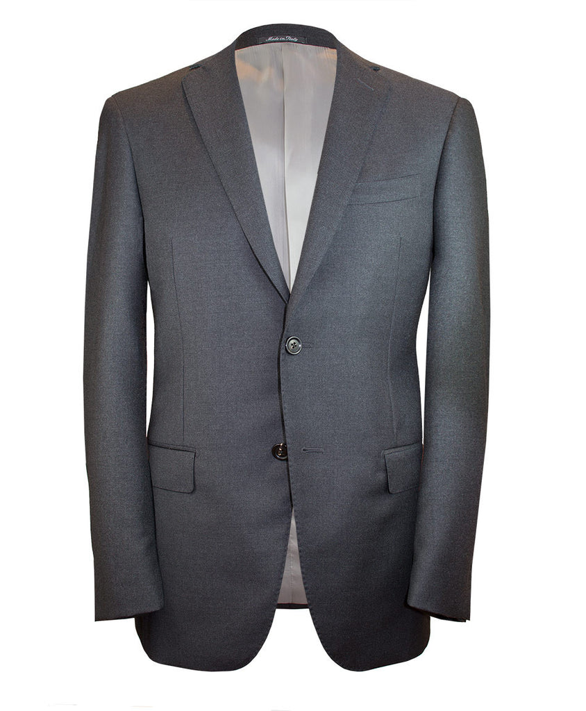 Two button charcoal grey suit. Made in Italy and fully canvassed.