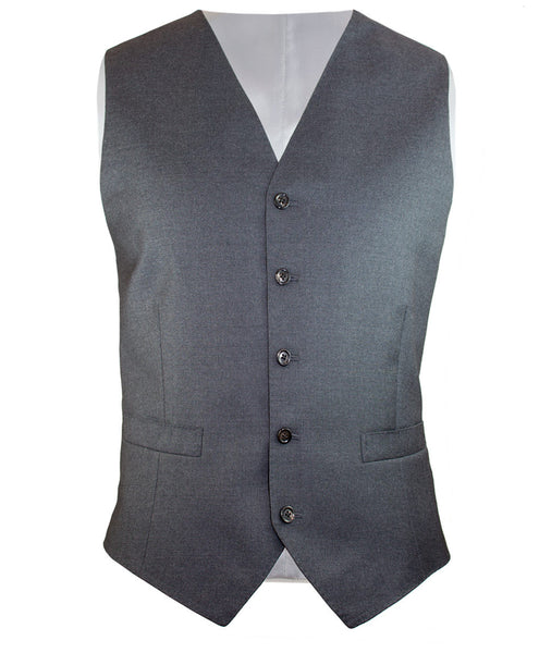 Solid Grey Gaberdine Vest - Ezra Paul Clothing