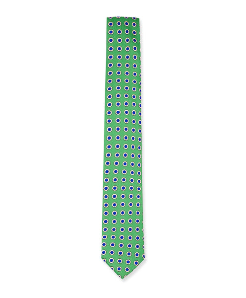 Emerald Green w/ Navy Bullseye Tie - Ezra Paul Clothing