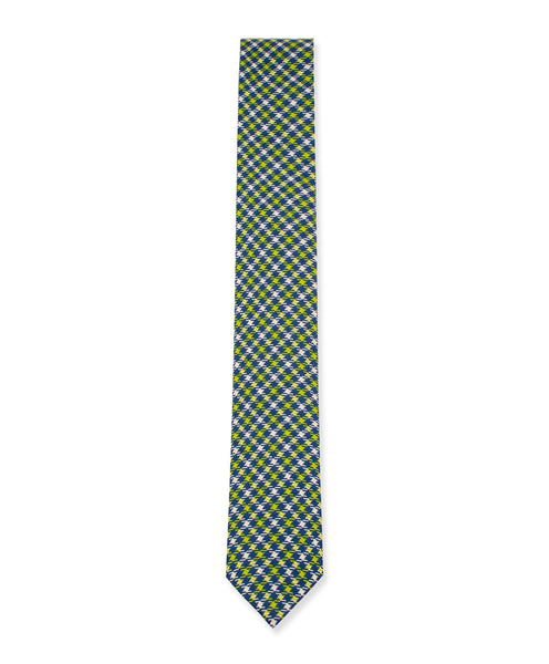 Green-Navy-Cream Houndstooth Linen Tie - Ezra Paul Clothing