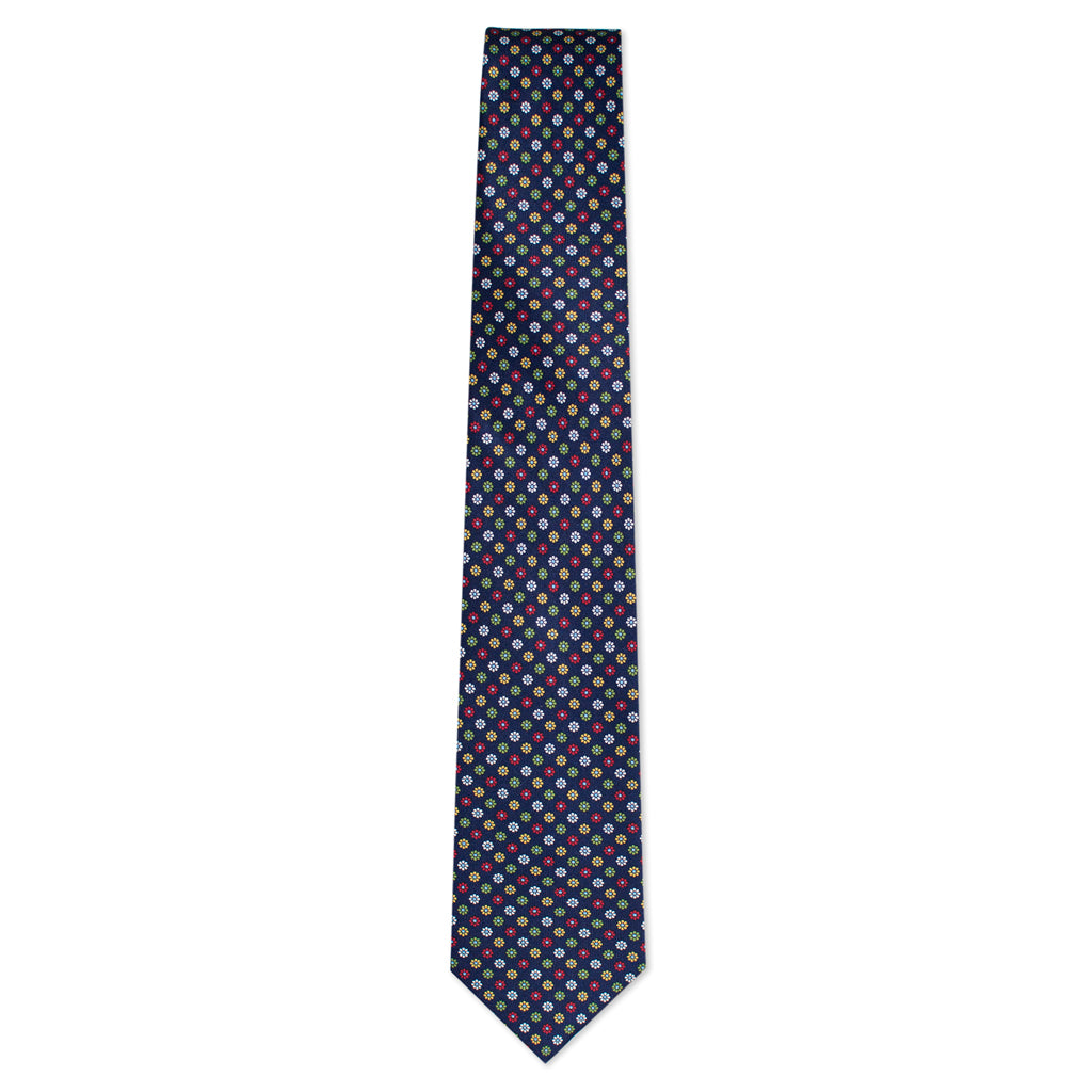 Navy and Multi-color Foulard Tie