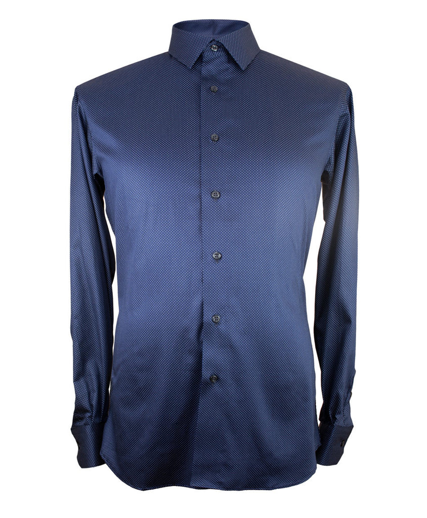 Navy w/ White Pin Dot Shirt - Ezra Paul Clothing