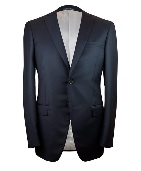 Two button navy suit. Made in Italy and fully canvassed.