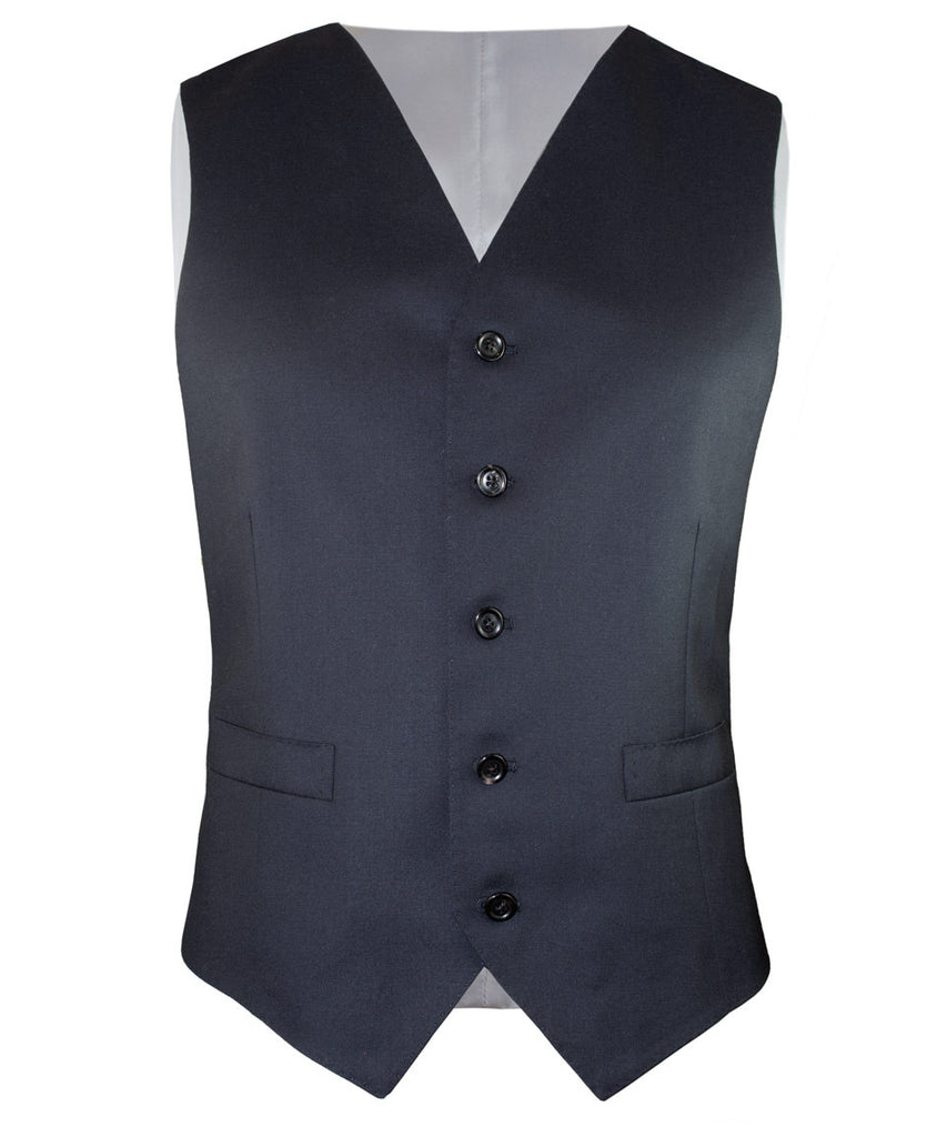 Solid Navy Gaberdine Vest - Ezra Paul Clothing