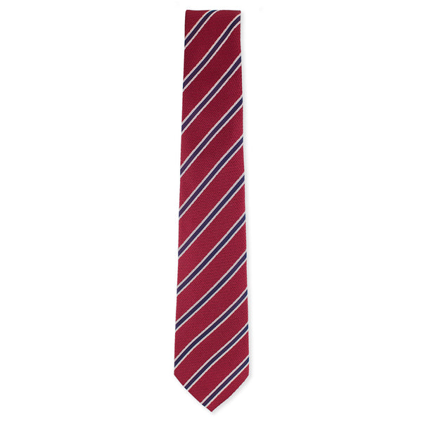 Red with purple stripe tie made in Como, Italy